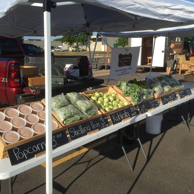 Farmers Market stand setup at the Mankato Farmers Market.