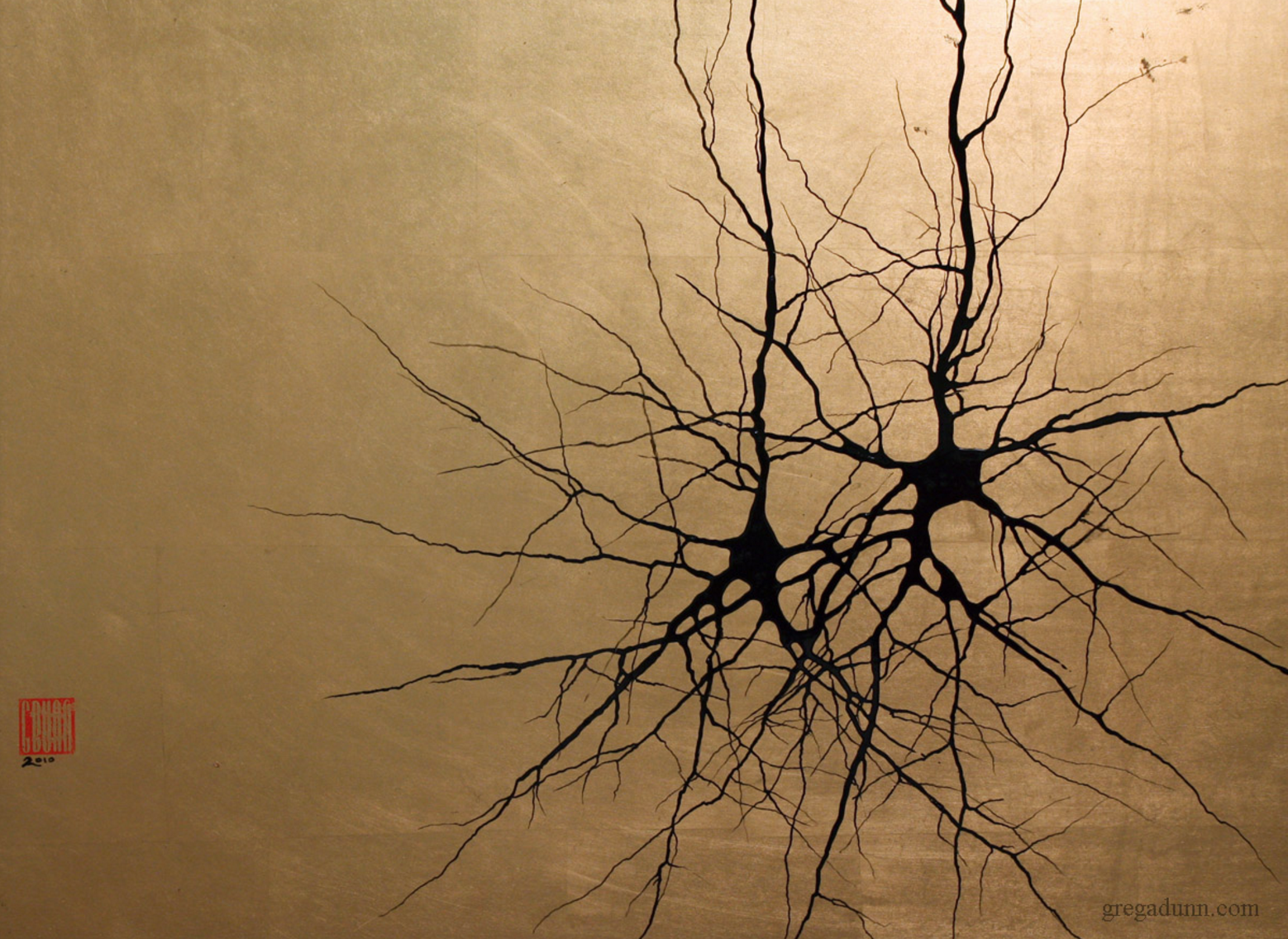 """""""Two Pyramidals."""" Pyramidal cells are neurons found in the brain that integrate information received from their dendrites (the branches at the bottom of the cell), process it, and transmit it to other cells through their axons (the large branches emerging upward from each cell). Enamel on composition gold leaf, 18″ X 24."""" © Greg Dunn, 2009. Commissioned by the Center of the Neural Basis of Cognition, Carnegie Mellon University"""