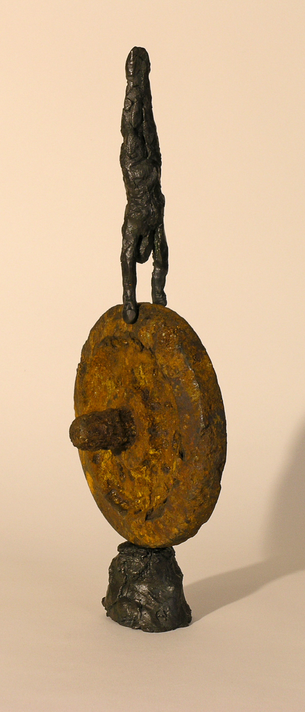 Handstand,  bronze figure with found object, LH
