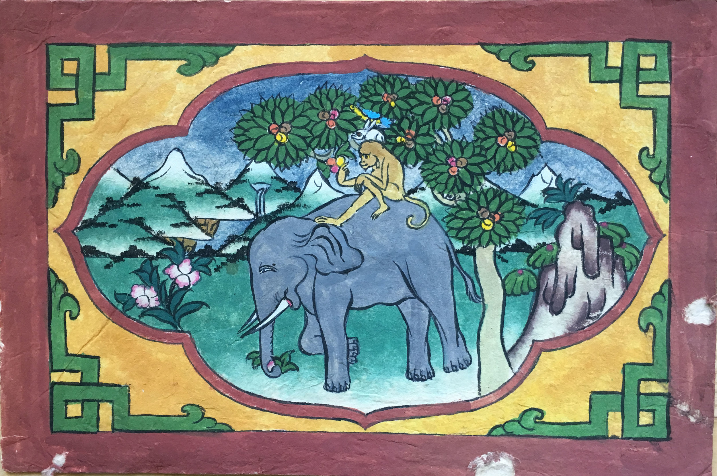 """Four Harmonious Friends"" handpainted in Bhutan"