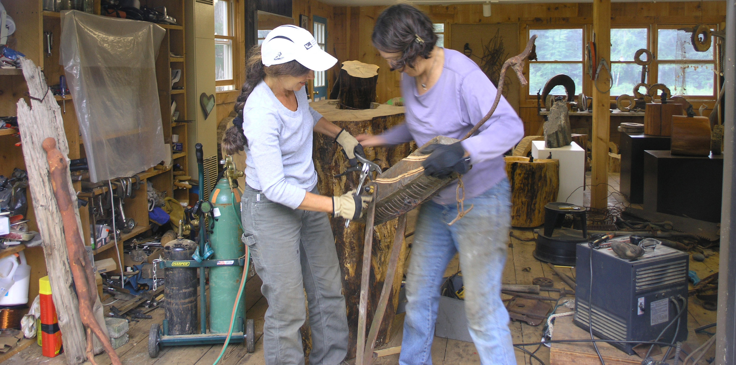 Linda Hoffman (left) and Madeleine Lord working on Belle the Bird in Hoffman's Studio, 2009