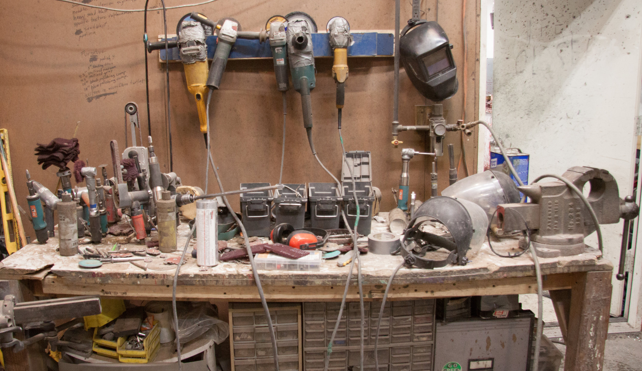 The metal working bench at Mission Foundry.