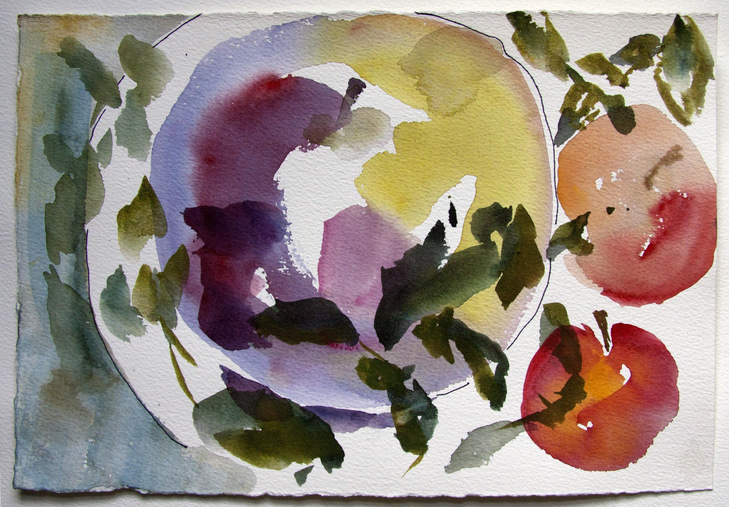 Eve domesticus, Watercolor, Linda Hoffman