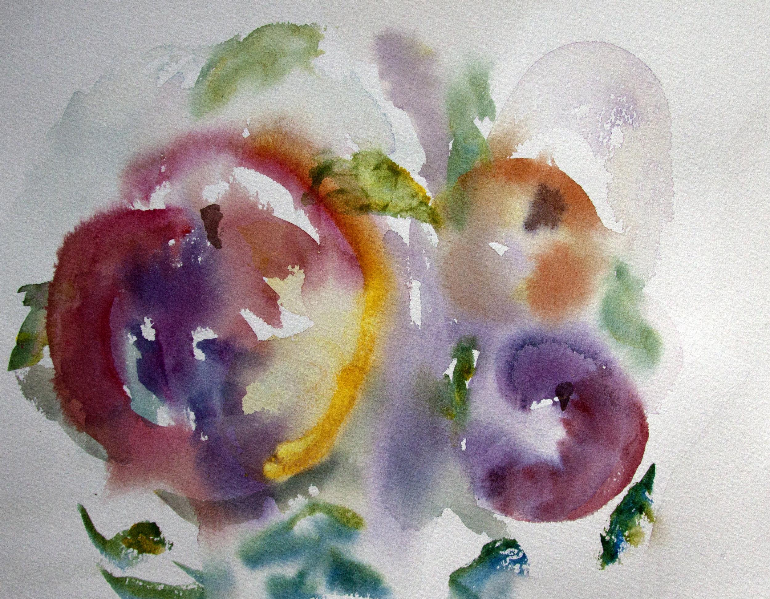 Apple Watercolor, Linda Hoffman