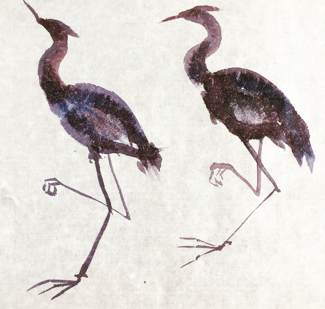 Two Herons, Watercolor, LH