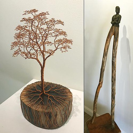 "Left: Ariel Matisse,  In the Garden,  2019, copper wire, walnut, 11"" x 6"" x 5½"". Right: Linda Hoffman,  Long-Legged Man,  2006, bronze, branch, wood block, 65"" x 16"" x 16""."