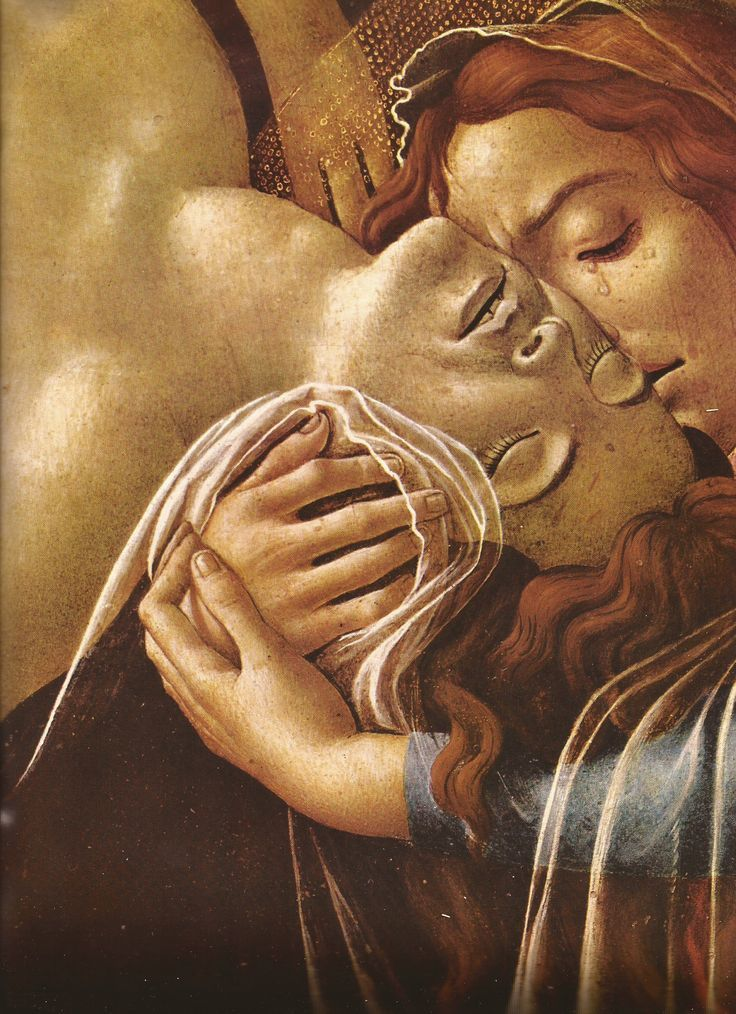 Sandro Botticelli.  Lamentation Over the Dead Christ.  (detail) 1492