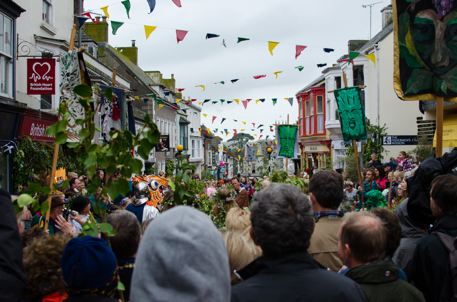 The main town full of people in Helston