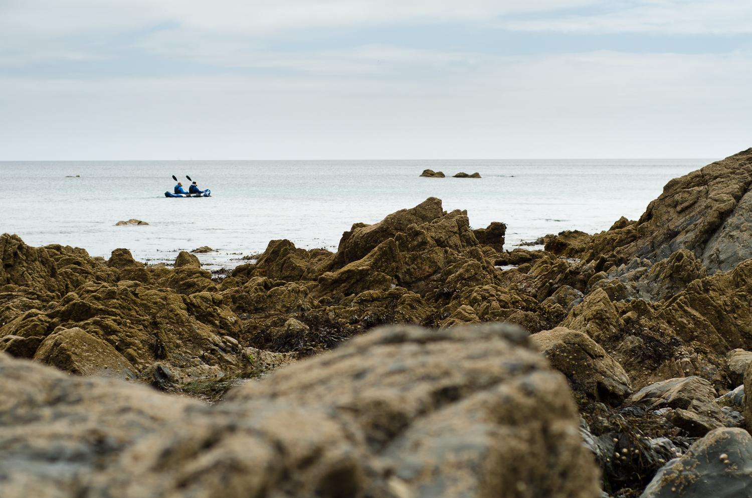two soul kayakers across the shores of Kennack sands