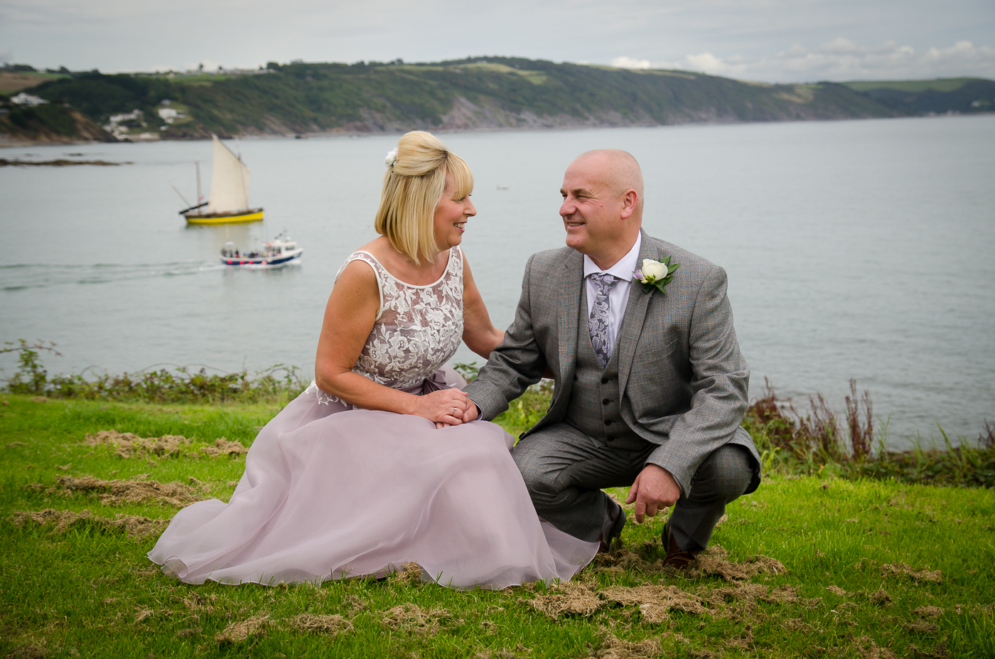 the couple in front of Looe bay