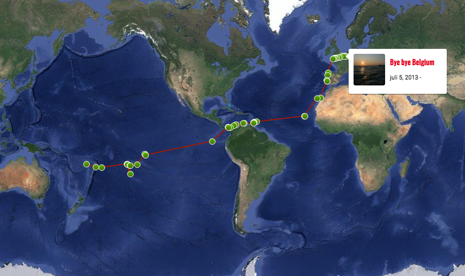 De route van Boxing Kangaroo. Al ruim twee jaar onderweg!