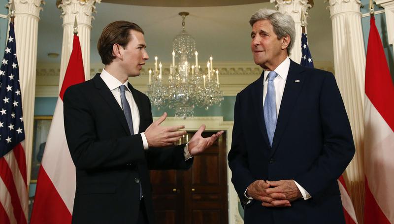 Arbeitsbesuch Washington. Bundesminister Sebastian Kurz trifft US Außenminister John Kerry. Washington. 04.04.2016. Photo: Dragan Tatic