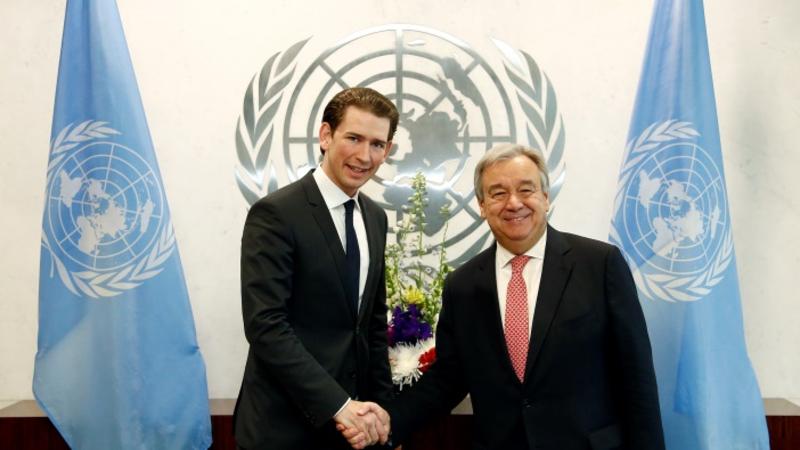 Arbeitsbesuch UNO. Bundesminister Sebastian Kurz trifft den UN Generalsekretär Antonio Guterres. New York,22.02.2017.  Photo: Dragan Tatic