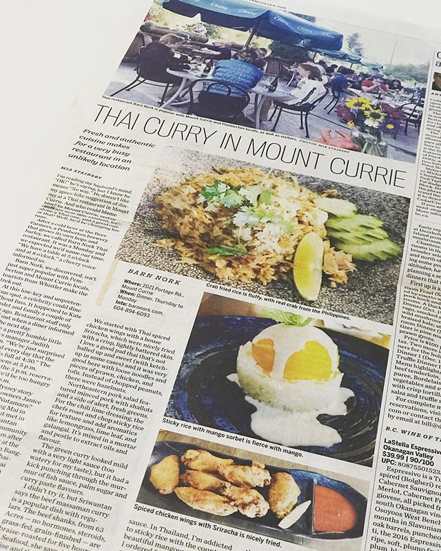 "Many many thanks to @miastainsby from The Vancouver Sun for recognizing Barn Nork!  https://vancouversun.com/life/food/local-food-reviews/restaurant-review-thai-curry-in-mount-currie  We were super surprised and totally thrilled when we heard Mia had been to the restaurant and wanted to share our story! When we started this over 3 years ago, we had no idea what would happen!!?? Our hope was to cook some food and perhaps a few people would come?? We just wanted to try......and to our amazement, people did come, and they continue to come.  We're so grateful to our hard wokring team, both current and from the very beginning who have helped us create Barn Nork. To the many travelers from all over the globe, we thank you for taking a chance when you see our sign and think ""THAI FOOD?? on the side of the road in Mount Currie...... really??"". And especially to our local community who support us all year round. We thank you for making the drive (rain or shine or snow) to sometimes stand in line, wait in your cars, fight the mosquitoes on the patio, call us back 10 times until you get through to place your take out order...and for forgiving us when we run out of Beef Massaman. Thank you so very much for always encouraging us with your kind words of appreciation for what we do!  We are truly living our dream 🙏"