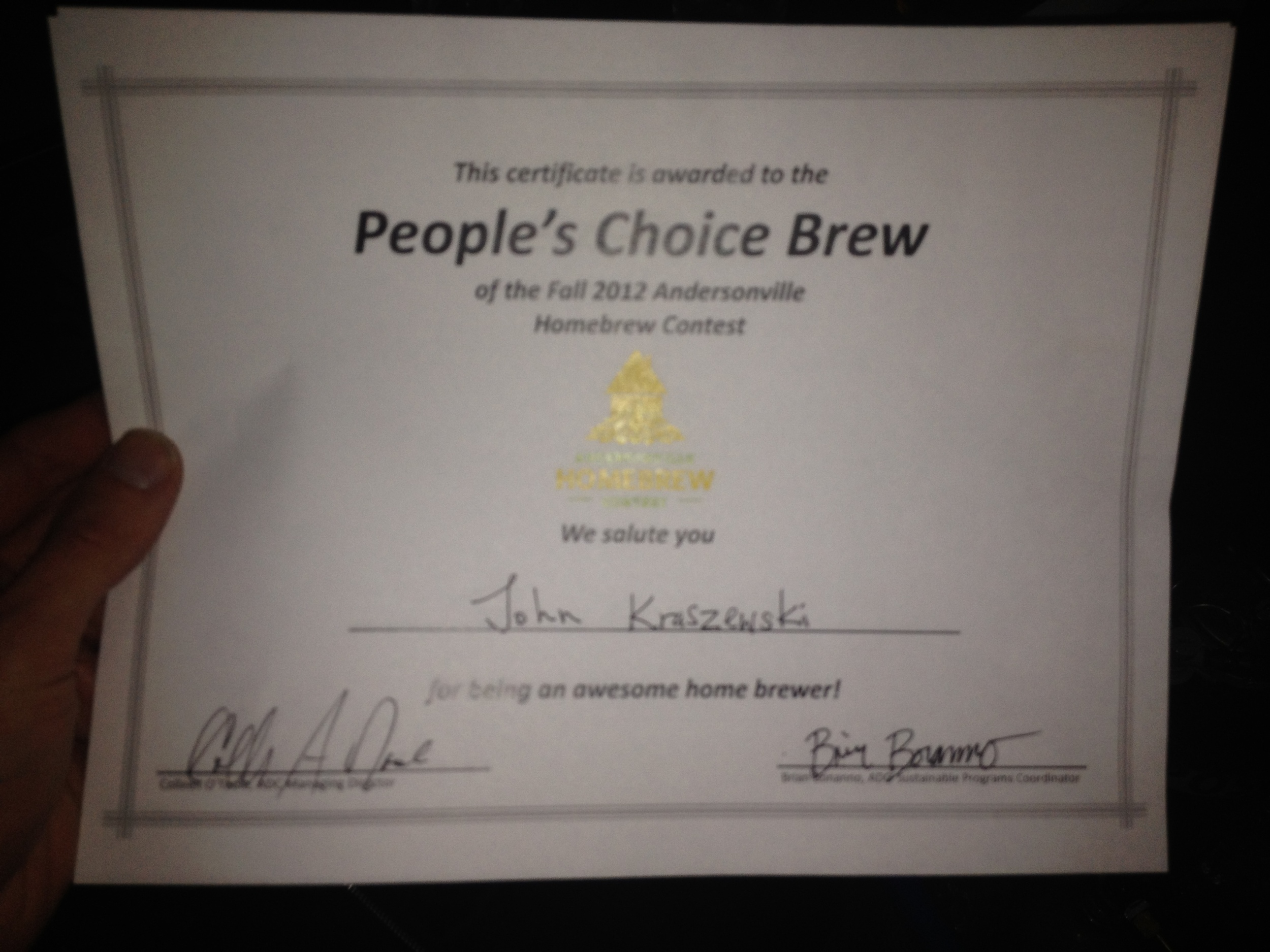 Peoples Choice Award (First Brewing Award)