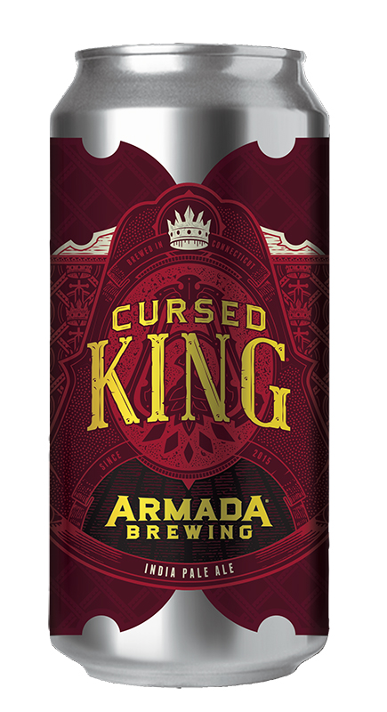 Cursed King IPA 6.6% ABV 66 IBUs  IPA Dry Hopped with Cascade, Columbus, Simcoe and Amarillo.