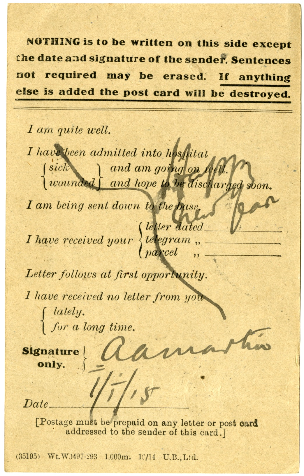 """Note that Dr Martin has disregarded the instructions on the postcard stating that """"Nothing is to be written on this side except the date and signature of the sender"""" with his message of a Happy New Year,"""