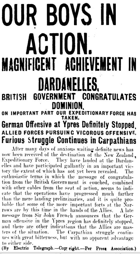 Manawatu Evening Standard, 29 April 1915, Page 5.