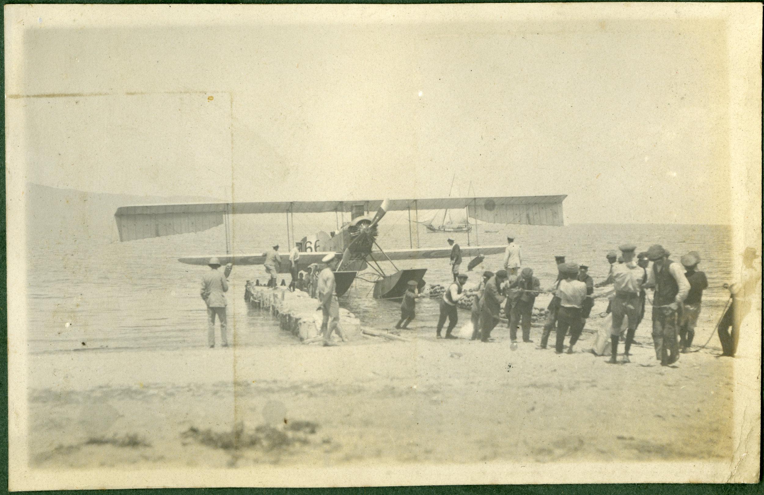 """Hauling in Old Man Short seaplane"""