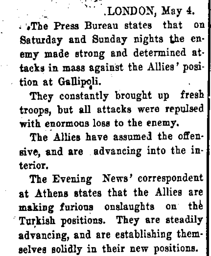 This article comes from the Manawatu Standard, 6 May 1915, page 5. TO READ THE ENTIRE NEWSPAPER SEE  PAPERSPAST .