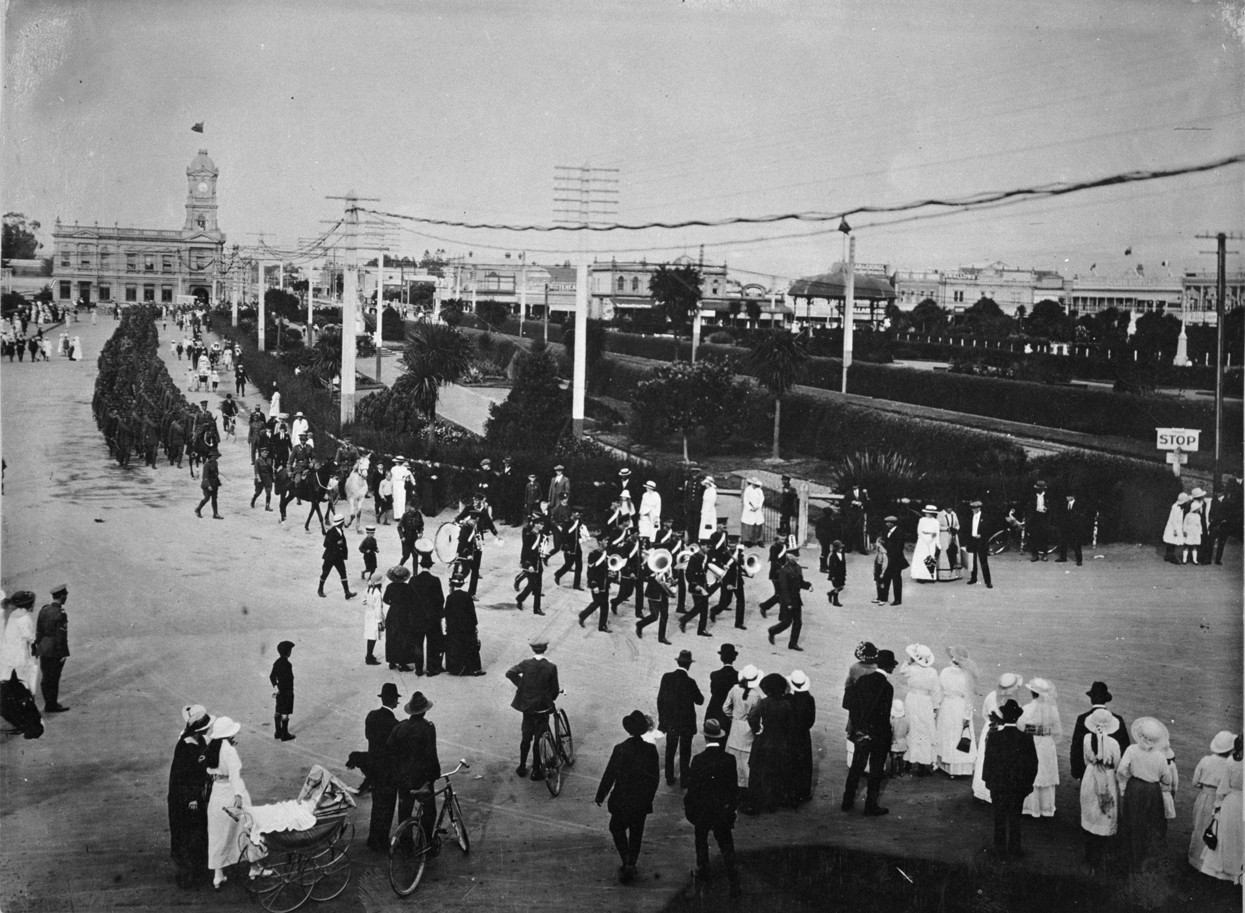 Soldiers march through The Square.