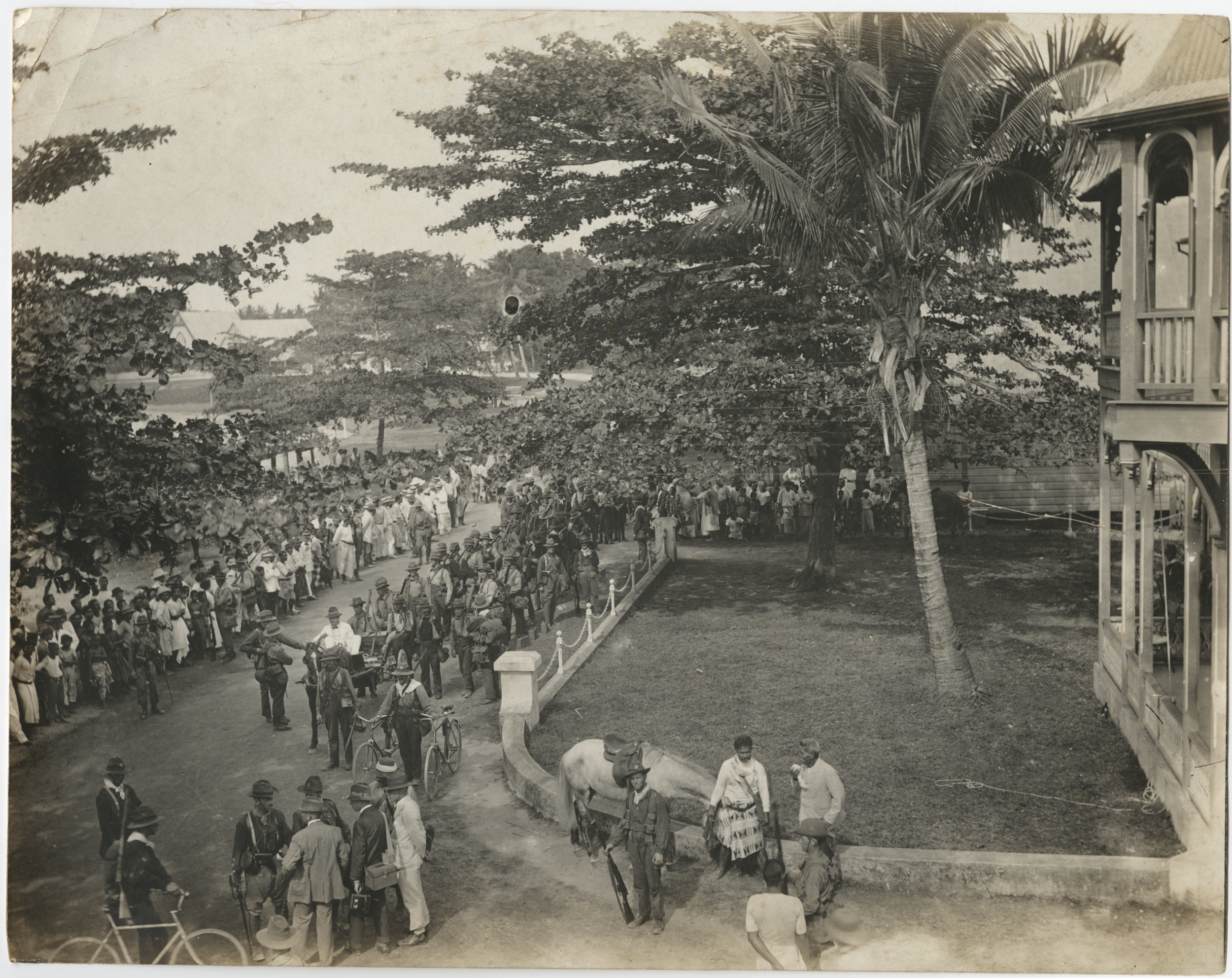 Soldiers marching through the streets