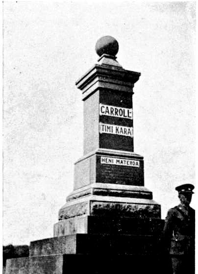 Figure 5: The Grave of Sir James Carroll, Gisborne. An army officer stands guard in the foreground. Reference: Tiaki Hikawera Mitira. 'The Life of Sir James Carroll, K.C.M.G., M.L.C' in Takitimu. Reed Publishing, Wellington, 1972.