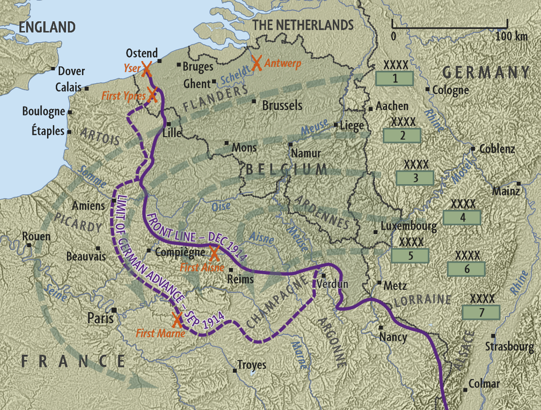 Figure 3: Map showing the Schlieffen Plan, German advance towards Paris and the major battles of 1914. Reference: 'Schlieffen Plan and German invasion of 1914', URL: http://www.nzhistory.net.nz/media/photo/schlieffen-plan-and-german-invasion-1914