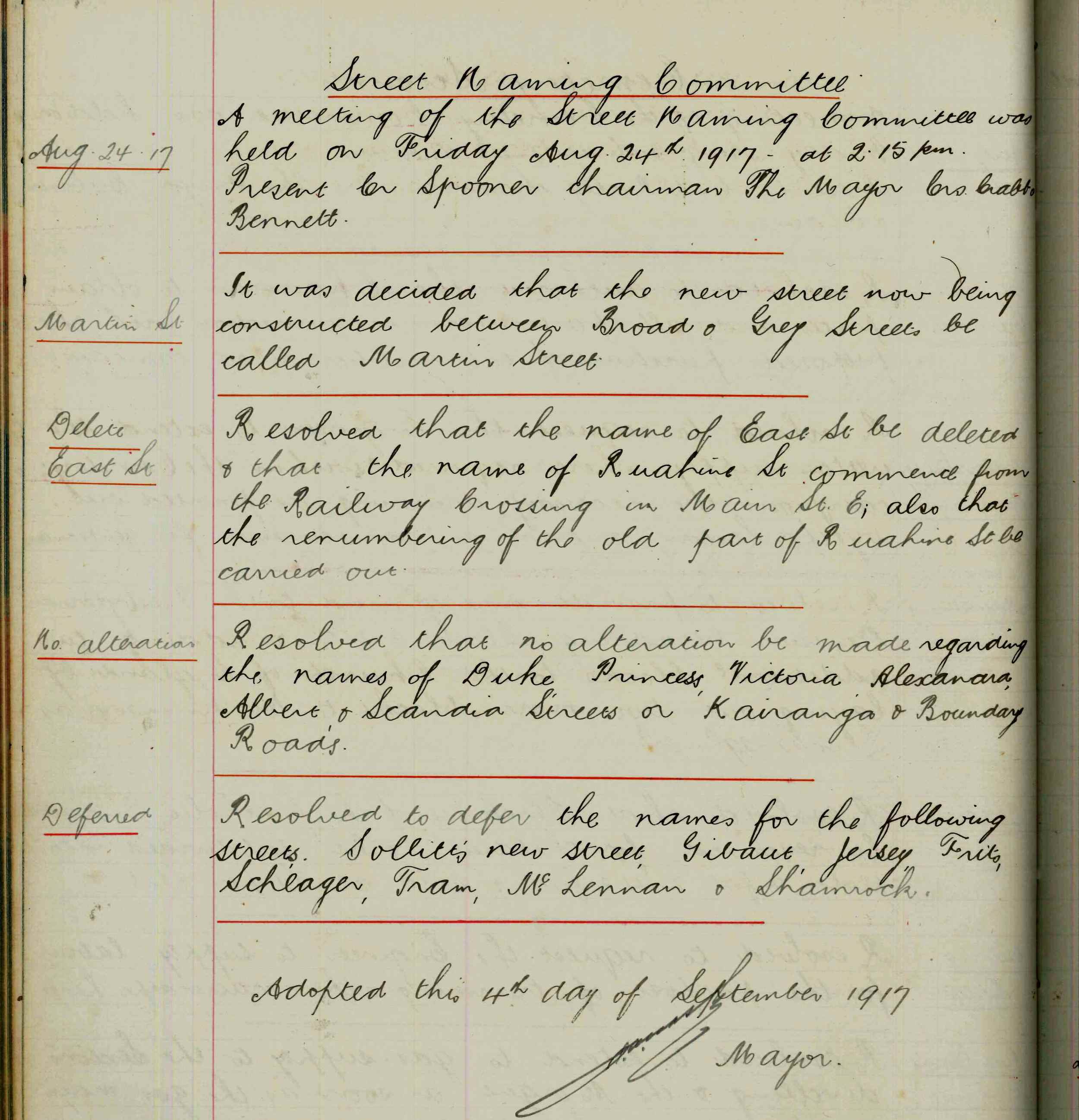 Figure 1:Palmerston North City Council minute book entry showing the decision to name the newly constructed road Martin Street on 4 September 1917. Reference:Minutes of Council Meetings, 1914-1917, Volume 7, Series 1/1/1, Ian Matheson City Archives.