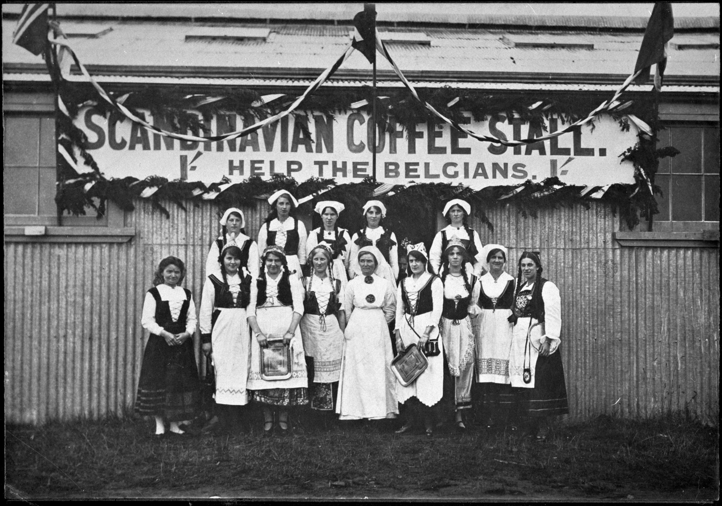 The Scandinavian Club held a stall in March 1915 in order to raise funds for the Belgian Relief Fund. SOURCE: Pataka Ipurangi,Palmerston North City Library photograph collection