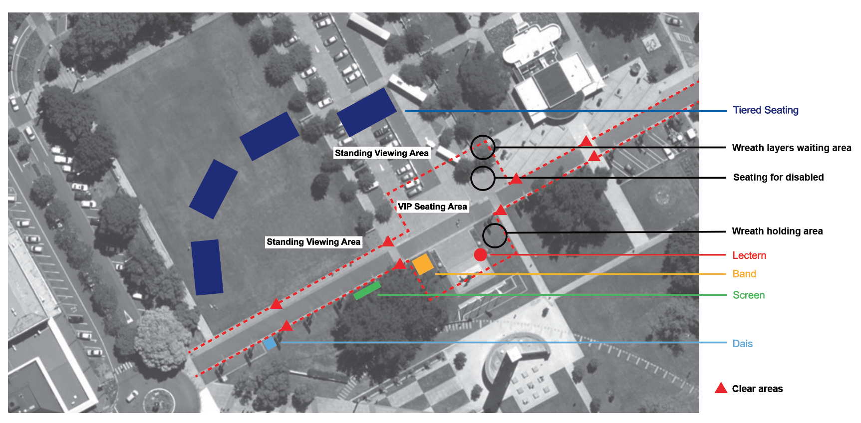 Layout of the Square for ANZAC Day 2016. Click on the map to enlarge
