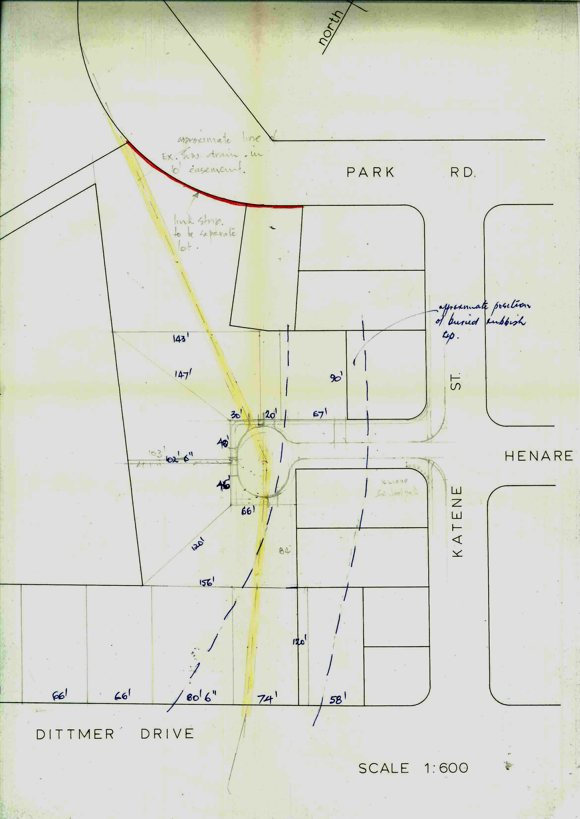 Figure 2: Plan showing the original subdivision proposal for Huata Place. Source: Ian Matheson City Archives, Series 7/1/2, Box 27, Folder 2.