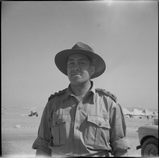 Figure 3: Wiremu Te Tau Huata in Egypt, 21 August 1943. Source: Alexander Turnbull Library, War History Collection (photographer: George Robert Bull), reference # DA-04461-F.