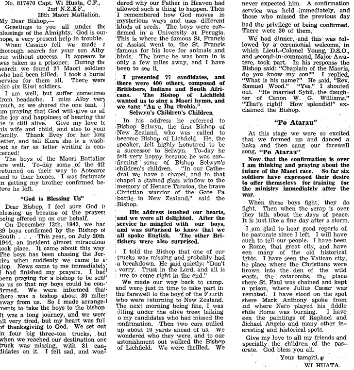 Figure 6: A letter, dated 1 November 1944, from Wiremu Huata to the Bishop of Aotearoa, Fredrick Bennett. Source: Waiapu Church Gazette, Volume 35, Issue 9, 1 November 1944, Page 10. Accessed 19 September 2016. URL:     www.paperspast.natlib.govt.nz    .