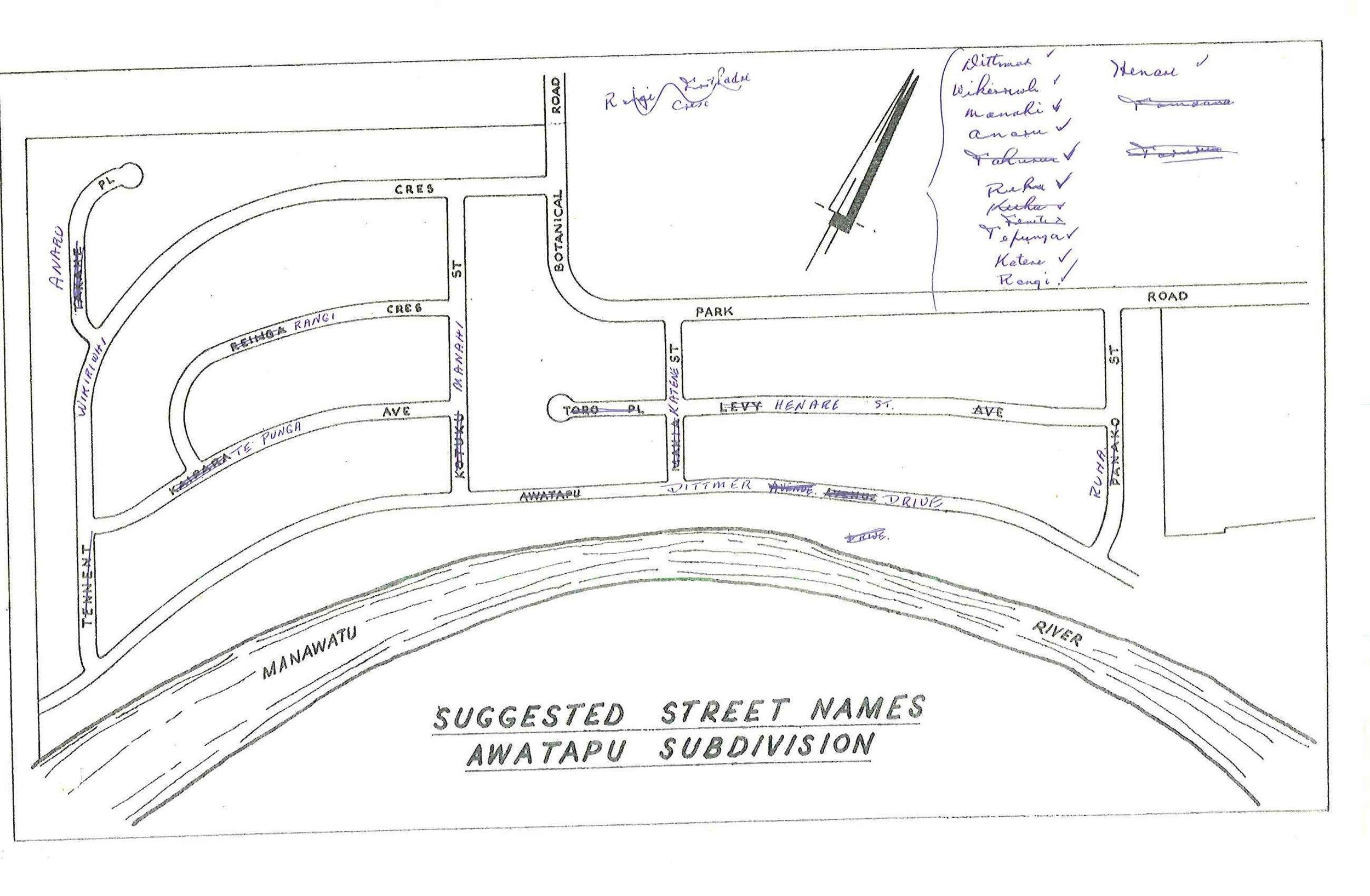 Figure 2: Original street name plan showing the renaming of Kaipara Street to Te Punga Avenue (later, Te Punga Place when it was shortened to accommodate Awatapu College). Source: Ian Matheson City Archives, Series 1/5/5, File 75/115, part 1.