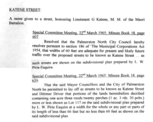 Figure 3: Extract from the Special Committee Meeting minute book of 22nd March 1965, whereby the Council conferred upon the developed street the Katene name. Source: Ian Matheson Archives, Town Planning Committee Minute Book, Series 1/1/7, Volume 5.