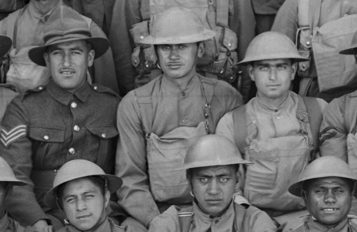 Figure 4: George Katene (centre) with other battalion members at Palmerston North camp, 1940. Source: Museum of New Zealand Te Papa Tongarewa, 'Maori Battalion HQ', Richard John James Thomson (photographer). Accessed 28 September 2016. Source:      http://collections.tepapa.govt.nz/