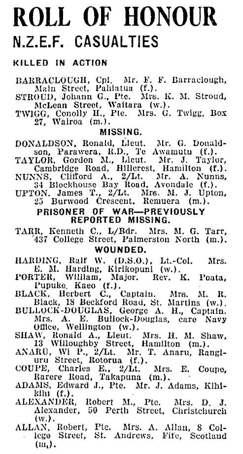 Figure 6: Roll of Honour list notifying that 2nd Lieutenant Wi P Anaru was wounded in action. Source: Evening Post, Volume CXXXV, Issue 104, 4 May 1943. Accessed 21 July 2016. URL:      https://paperspast.natlib.govt.nz/newspapers/EP19430504.2.45