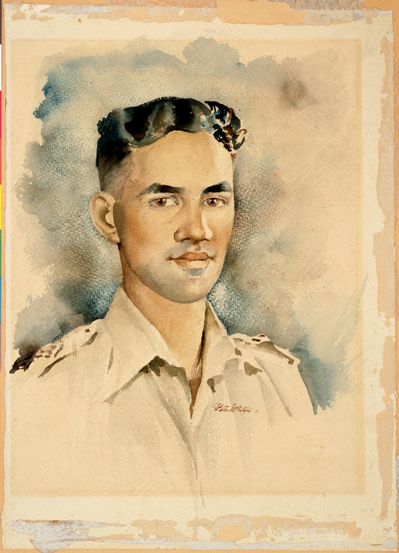 Figure 4: Watercolour portrait of 2nd Lieutenant Moananui-a-Kiwa Ngārimu, VC, by Peter McIntyre, circa 1944. Source: Archives New Zealand,  War Art.  URL:      http://warart.archives.govt.nz/node/99