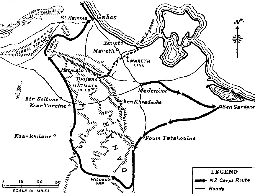 Figure 5: Map showing the movement of the 2nd New Zealand's left-hook as part of the outflanking of the Mareth Line via the Tebaga Gap. Source: J B McKinney,     Medical Units of 2 NZEF in Middle East and Italy. URL:      http://www.ourstory.info/library/4-ww2/NZmed/nzmed08.html