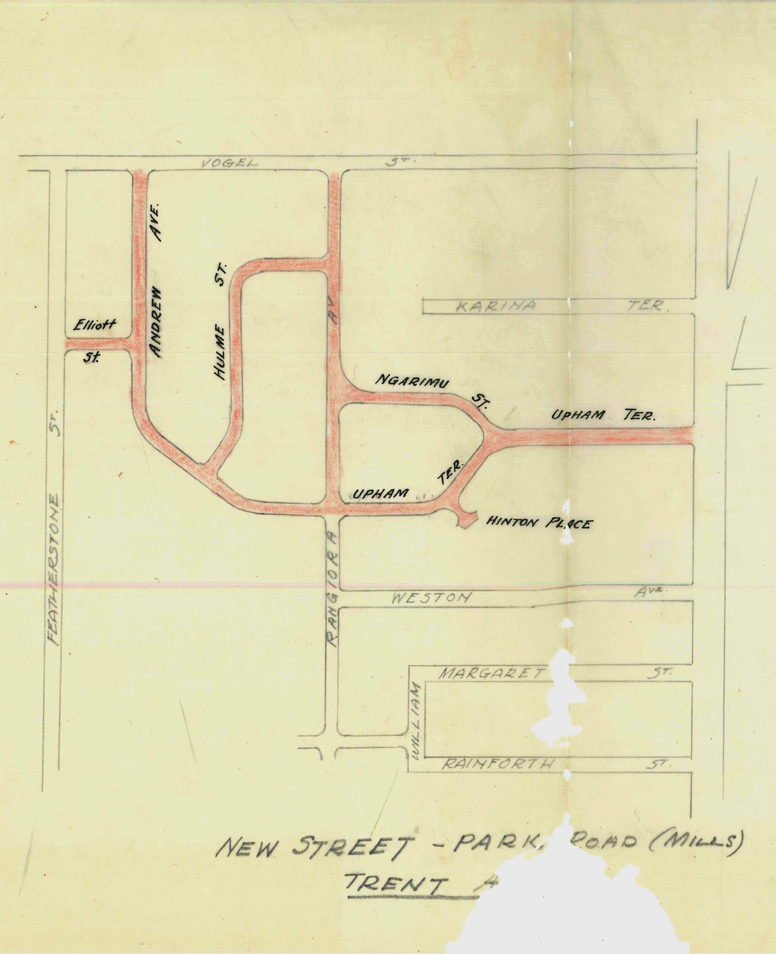 "Figure 2: Council plan showing the new streets between Rangiora Avenue and Featherston Street. Source: Ian Matheson City Archives, PNCC Series 1/5/7, Box 37. Letter, ""Naming of New Streets"", 17 March 1947."