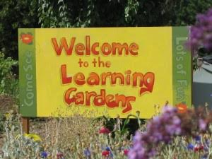 Welcome sign to the Learning Garden Lab