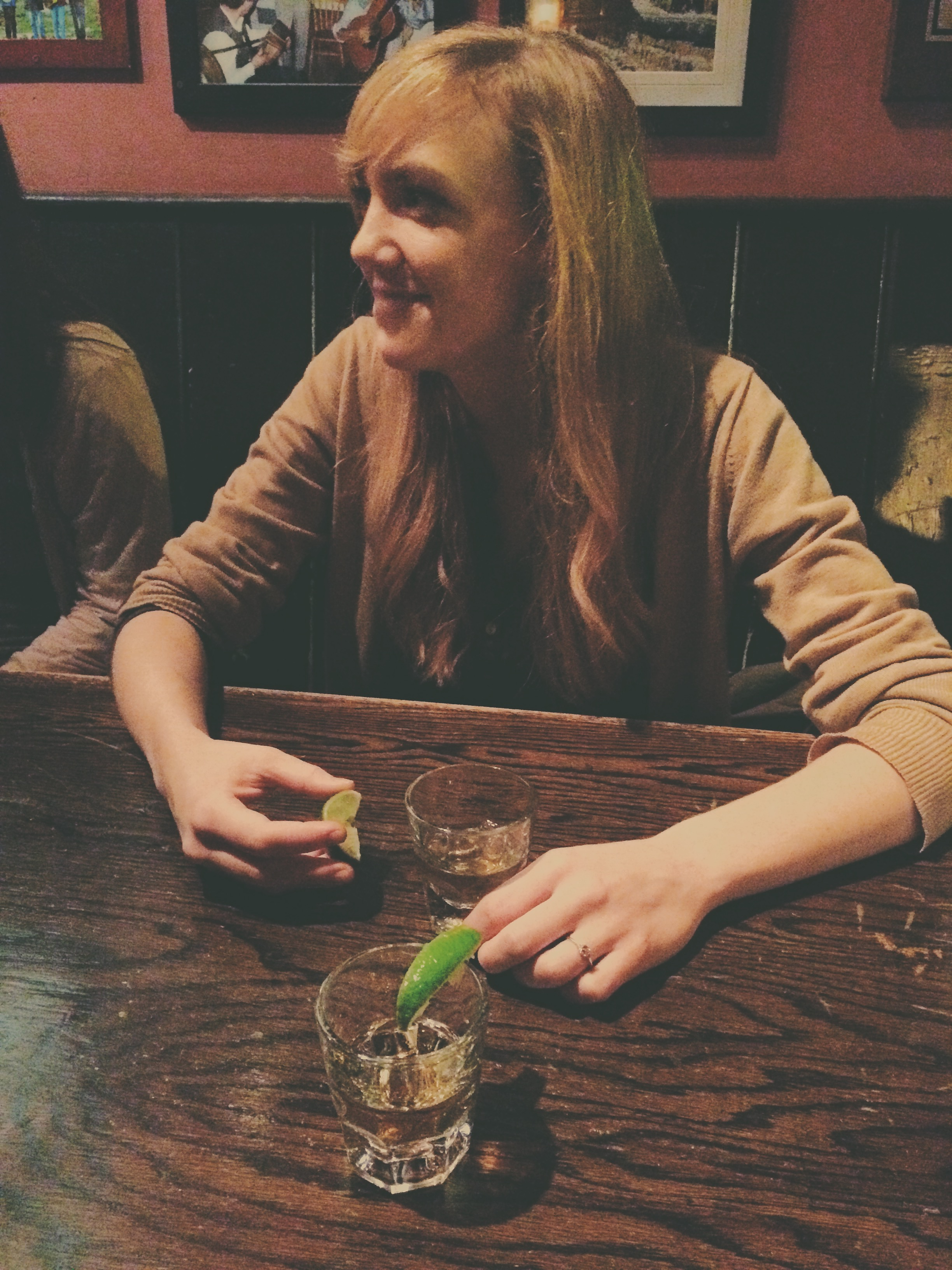 my first tequila shot with Hannah :) (check out the ring!)