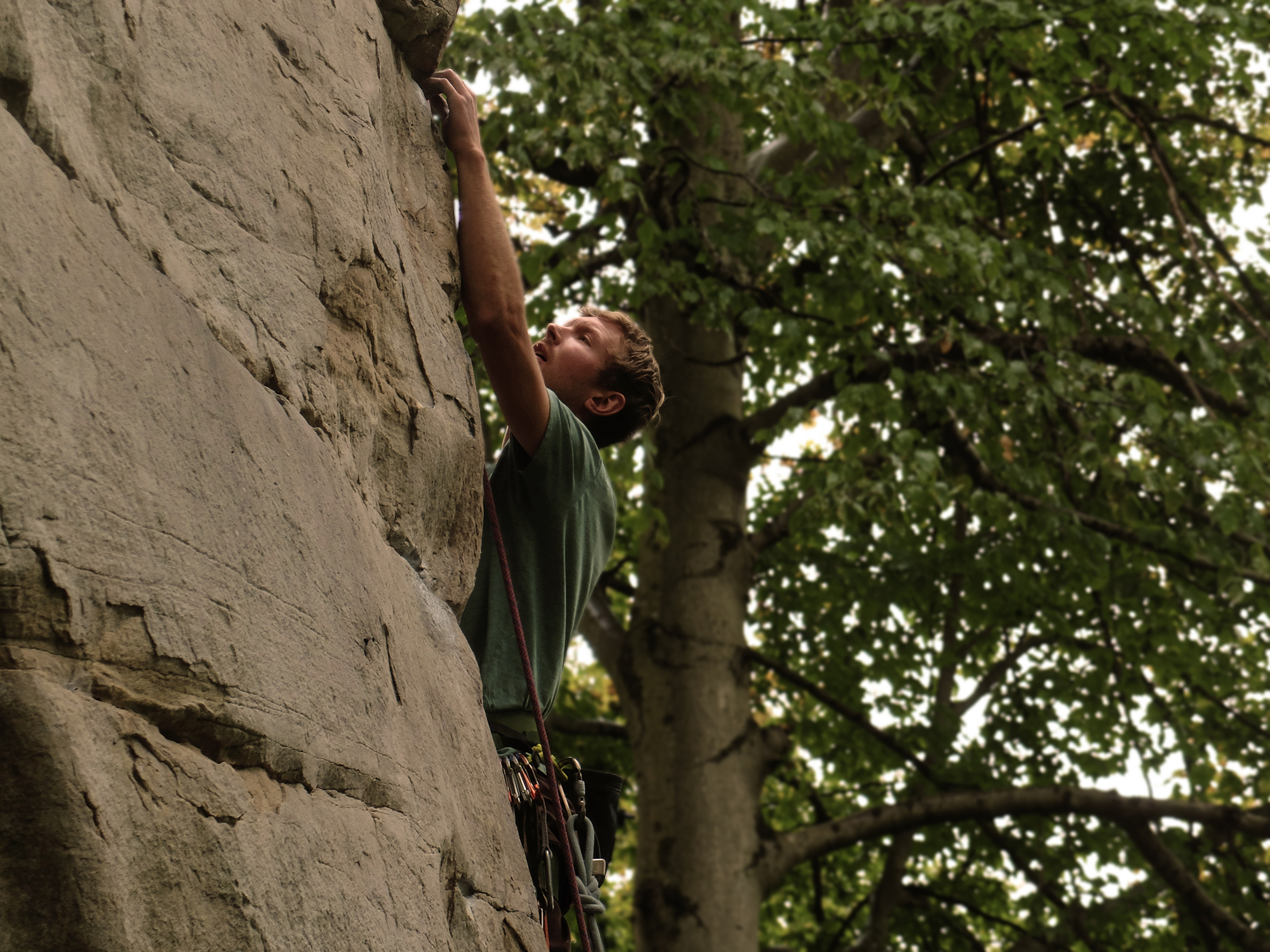 Brian on Rico Suave Arete (10a) at Kaymoor
