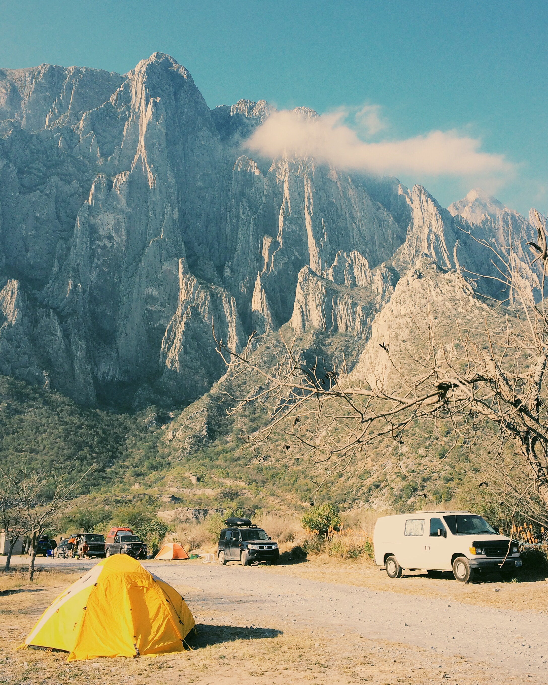 Camp scene at Homeros, with El Toro in the background. See the skull in the rock?