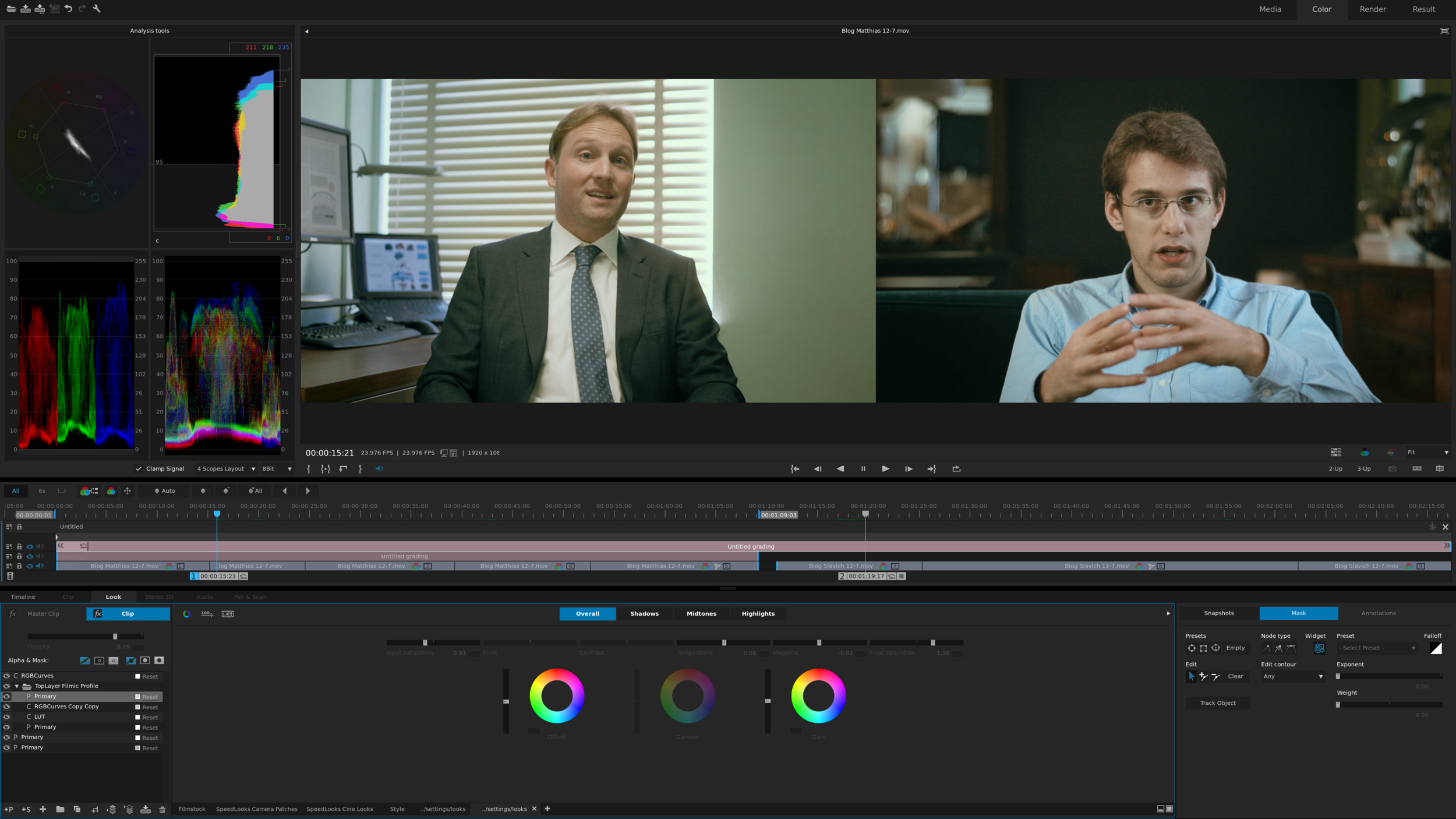Color-grading clips for the blog.
