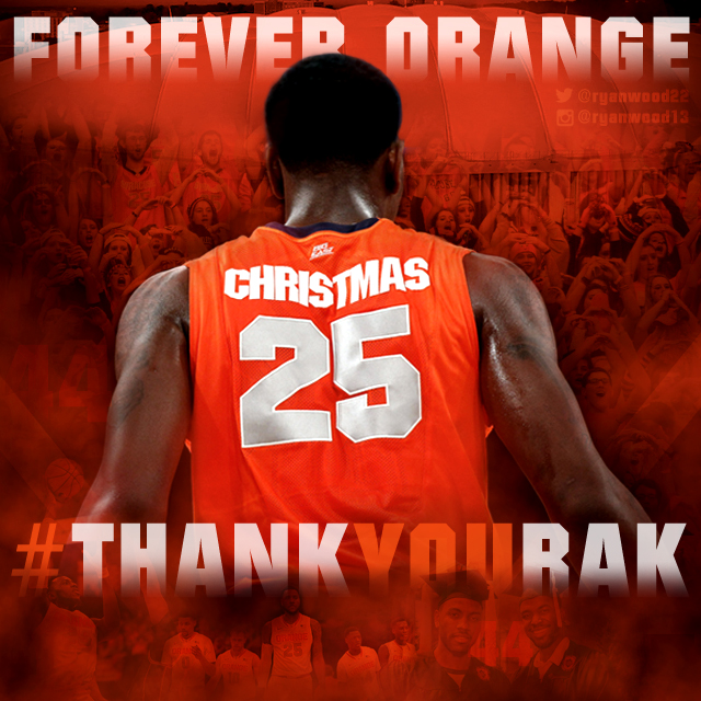 Sports edit graphic created to honor Rakeem Christmas on senior night.