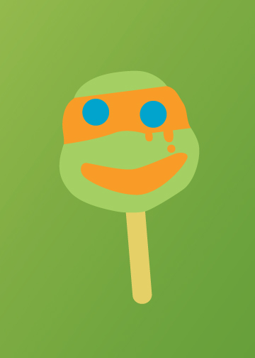 TMNT Ice Cream minimal Mikey Ryan Wood