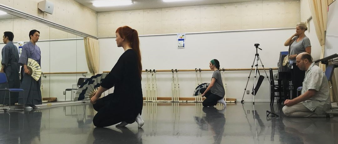 Kimberly and colleague Mika Oskarson Kinstrand practicing with Kita School Sensei Oshima Teruhisa and Theatre Nohgaku Training Director John Oglevee.