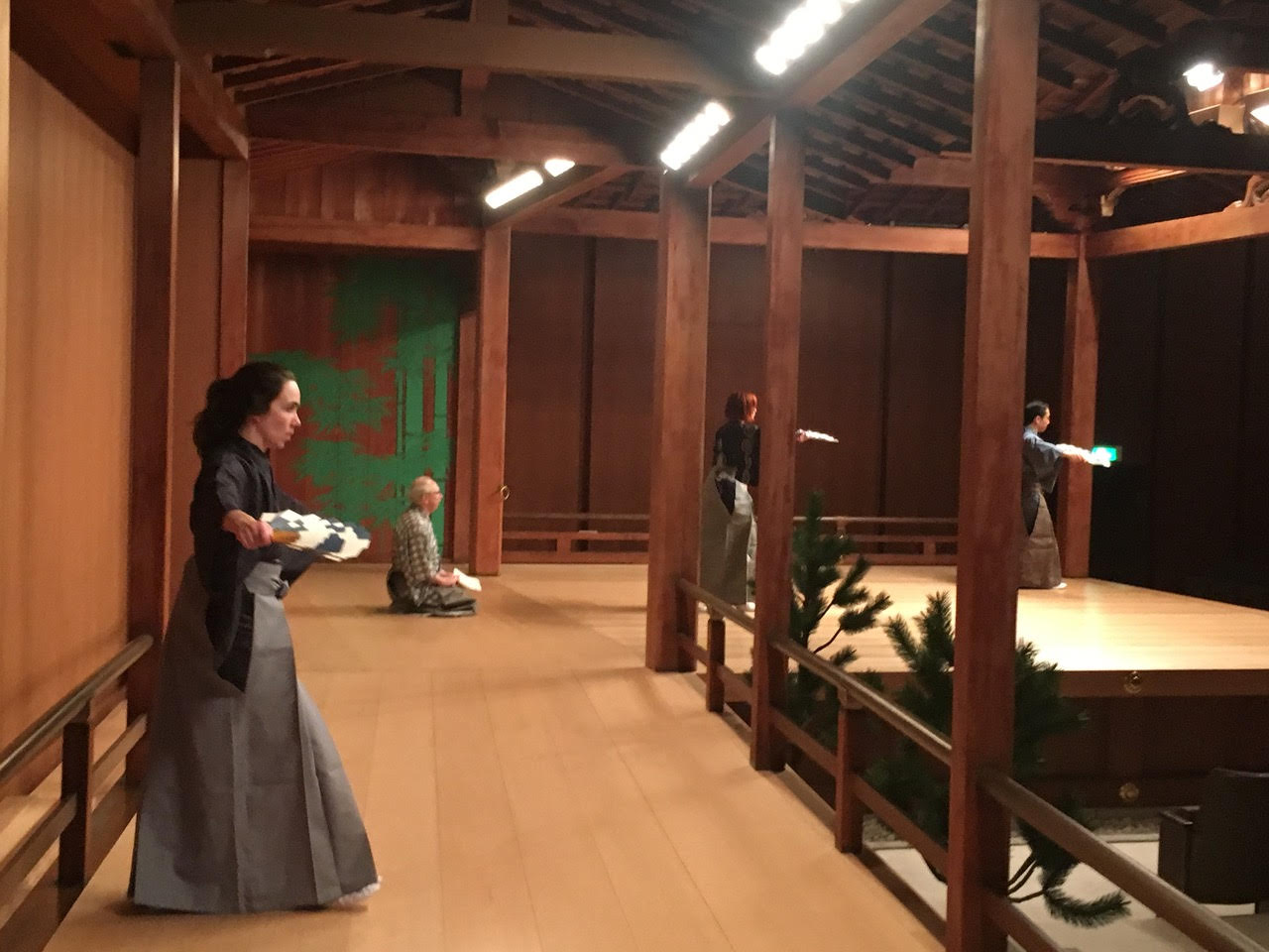 Kimberly practicing  Miwa  on the Kita Noh Stage in Meguro.